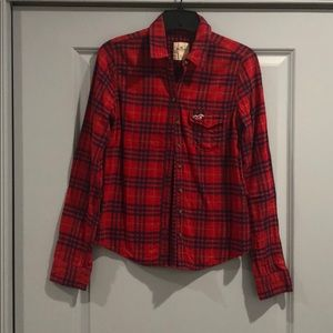 Hollister Red and Navy Plaid Shirt